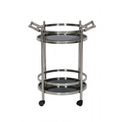 Casa Padrino luxury bar trolley serving trolley round stainless steel nickel plated / black glass mod 3 - luxury hotel & restaurant furnishing furniture serving table