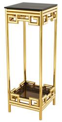 Casa Padrino Luxus Beistelltisch Gold mit Rauchglas 35 x 35 x H. 100 cm - Designer Tisch Möbel