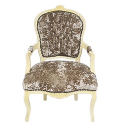 Casa Padrino Baroque Salon Chair Khaki Velor Fabric / Cream - Antique Design Furniture