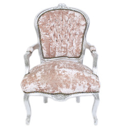 Casa Padrino Baroque Salon Chair Rose Velor Fabric / Silver - Antique Design Furniture