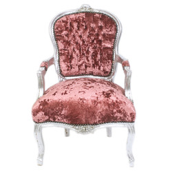 Casa Padrino Baroque Salon Chair Bordeaux Velor Fabric / Silver - Antique Design Furniture