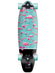 Flying Wheels Longboard Kicktail Cruiser Flamingo 34 x 9.25 inch Komplettboard - Carver - Special Edition mit Koston Kugellagern 001