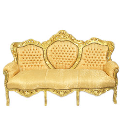 """Casa Padrino Baroque 3-seater sofa """"King"""" gold pattern / gold furniture baroque"""
