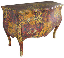 Casa Padrino Baroque Chest of Drawers with golden metal appliqués 123 cm - baroque furniture