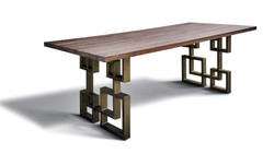 Casa Padrino Dining table in industrial design - oak - 200 x 100 x H. 78 cm - Luxury dining room furniture