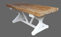 Casa Padrino Luxury solid wood dining table - oak / white - 200 cm x 90 cm x H80 cm - Heavy construction