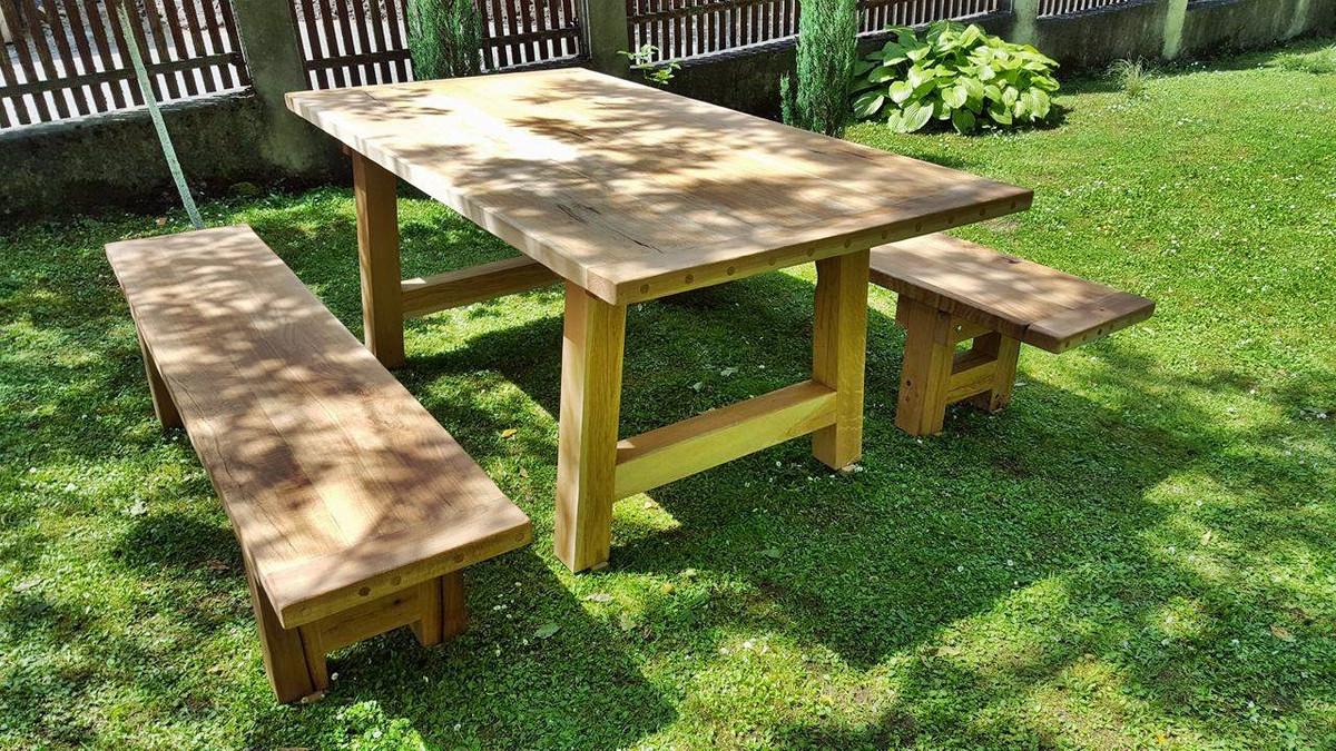 Casa padrino garden furniture set rustic table 2 for Oak garden furniture
