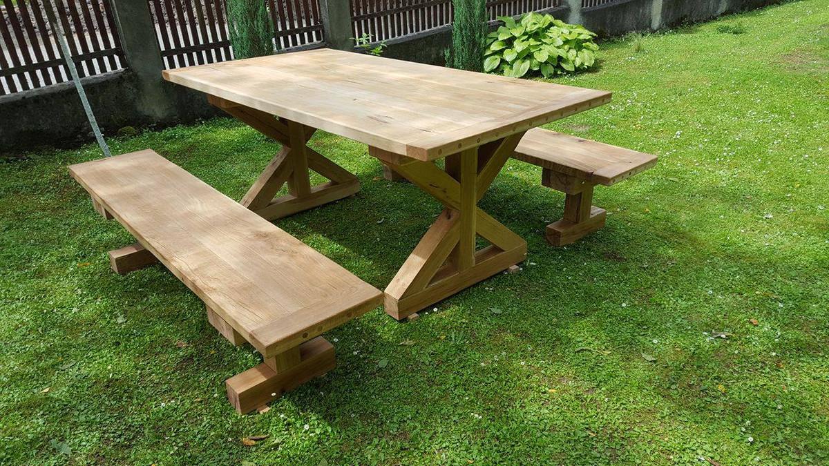 Casa Padrino Gartenmobel Set Rustikal Tisch 2 Garten Banke