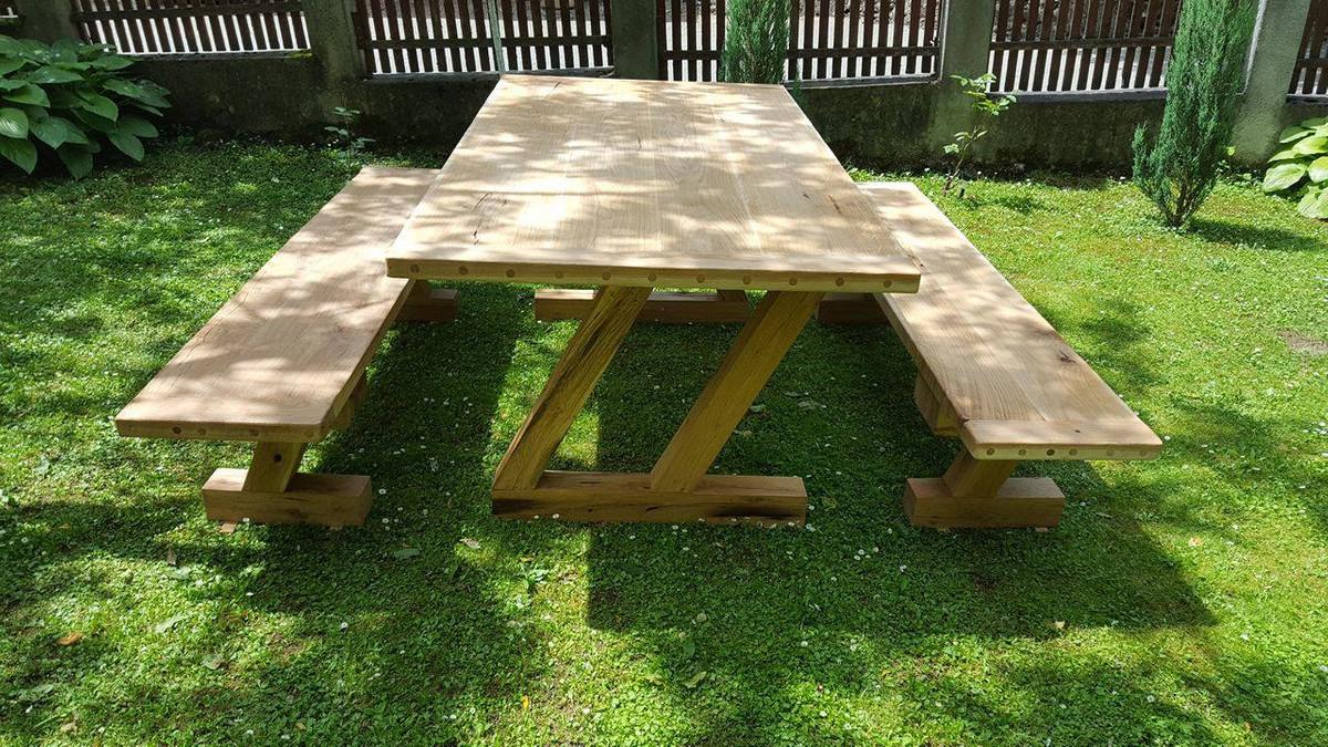 Casa Padrino Gartenmöbel Set Rustikal Tisch 2 Garten Bänke