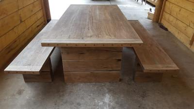 Casa Padrino Gartenmöbel Set Rustikal   Tisch + 2 Garten Bänke (Länge 200  Cm)