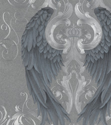 Harald Glööckler Imperial Baroque Wallpaper 52579 - Grey/Blue with angel wings