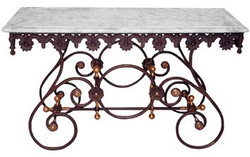 Casa Padrino Nostalgia Wrought iron dining table with white marble top - 135 cm x 55 cm x H70 cm - luxury garden furniture