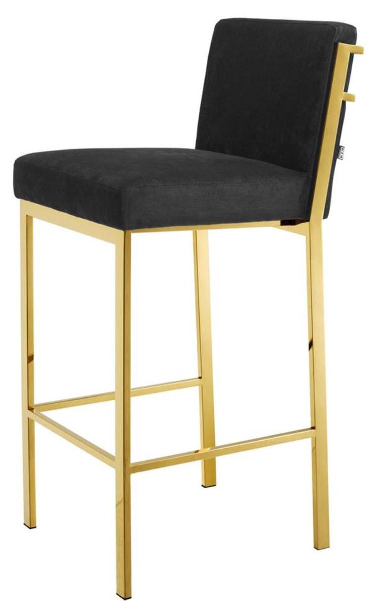 Casa Padrino Luxury Bar Stool Black Gold 43 X 54 X H 101 Cm Designer Stainless Steel Bar Stool With Velvet Fabric Bar Furniture