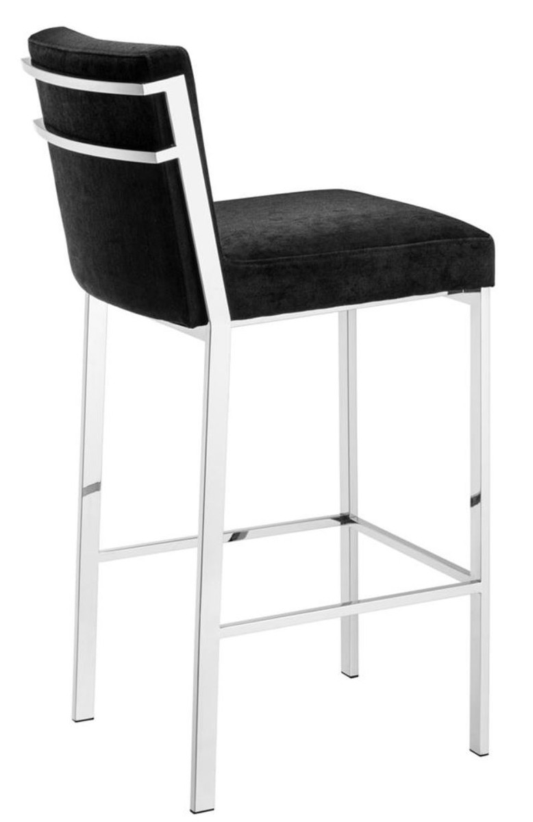 Pleasing Casa Padrino Luxury Bar Stool Black Silver 43 X 54 X H 101 Cm Designer Stainless Steel Bar Stool With Velvet Fabric Bar Furniture Inzonedesignstudio Interior Chair Design Inzonedesignstudiocom