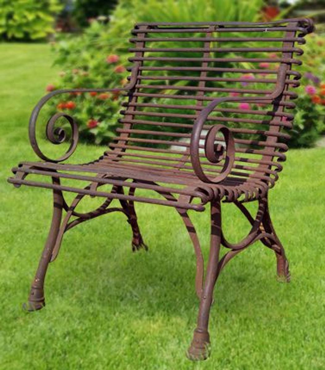 Casa Padrino Gartenstuhl aus Schmiedeeisen - verschiedene Farben - 65 cm x 60 cm - Luxus Gartenmöbel 3