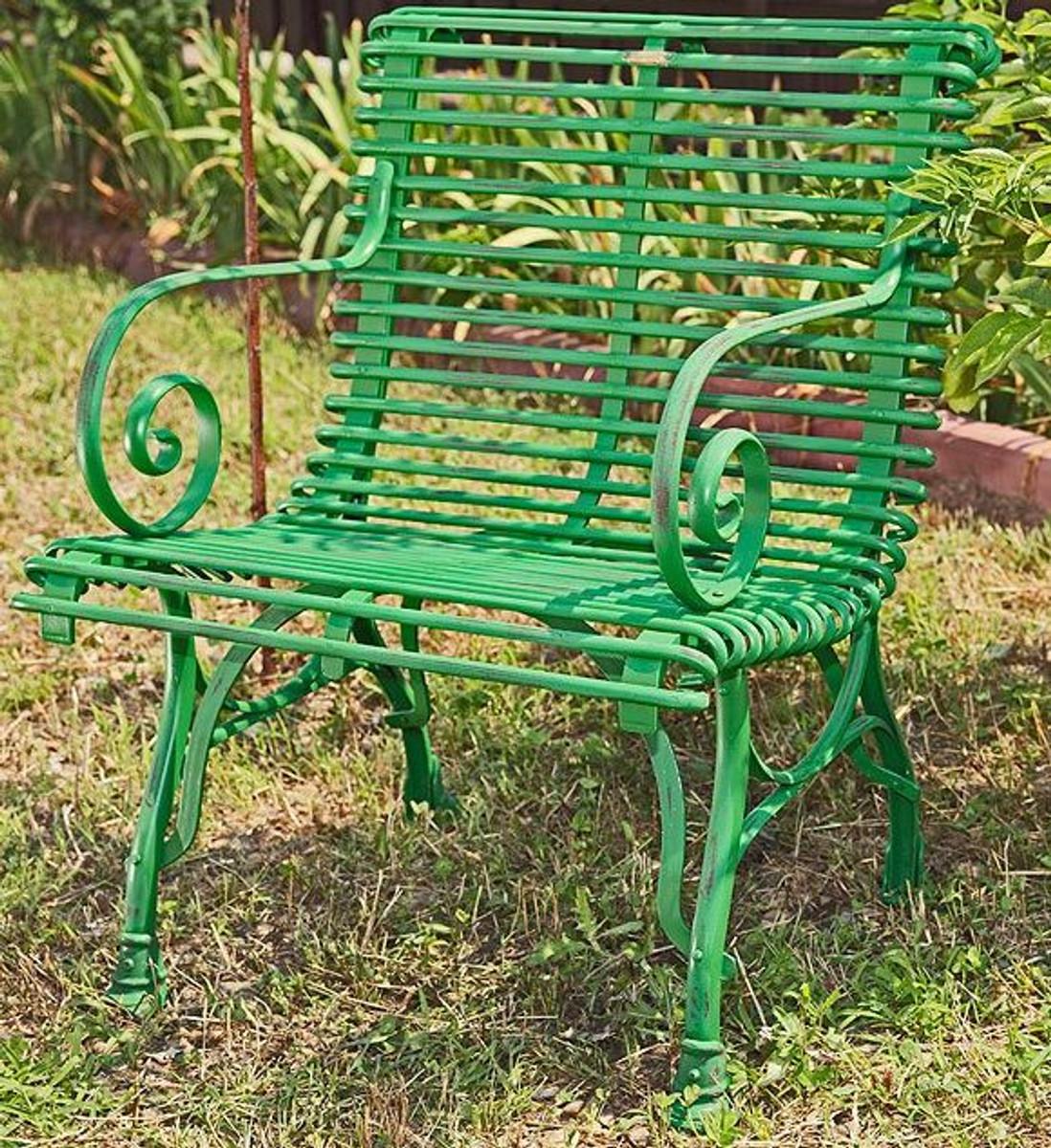 Casa Padrino Gartenstuhl aus Schmiedeeisen - verschiedene Farben - 65 cm x 60 cm - Luxus Gartenmöbel 4