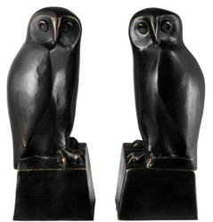 Casa Padrino designer bronze owl bookends set of 2 - luxury bronze figures
