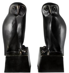 Casa Padrino Designer Bronze Eulen Buchstützen 2er Set - Luxus Bronzefiguren
