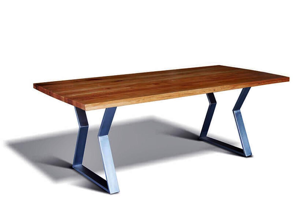 casa padrino luxus massivholz esstisch mit metallgestell eiche 200 cm x 100 cm x h78 cm. Black Bedroom Furniture Sets. Home Design Ideas