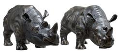 Casa Padrino luxury bronze figures set of 2 Rhinoceros 15 x 44,5 x H. 20 cm - noble & ornate