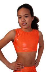 Crop Top / Bustier, Hologramm, orange – Bild 1