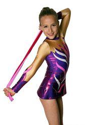 RSG-Anzug / Gymnastikanzug mit Rock Anastasia (grape/skin) – Bild 2
