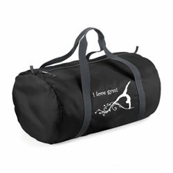 schwarze leichte Sporttasche, Druckmotiv Gymnastin mit Ranke