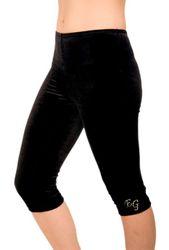 Capri / Legging aus Samt, schwarz, mit Initialen