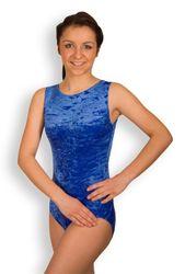Turnanzug, Knittersamt royalblau, ohne Arm, ovaler Ausschnitt – Bild 1