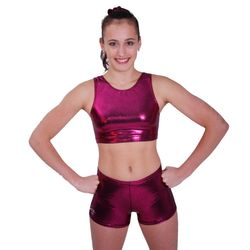 Getty-Sports Racerback Cropped Top und Panty (dark berry) – Bild 1