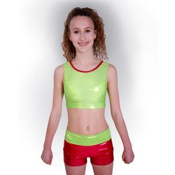 Getty-Sports Cropped Top und Panty (lime, red) – Bild 1