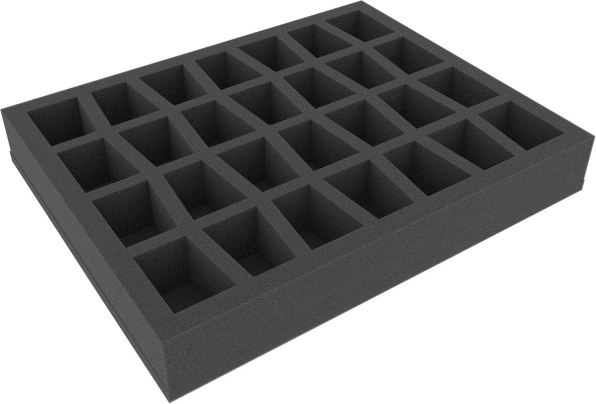 FS050C4BO 50 mm (2 inches) Figure Foam Tray with base and 28 slots for larger tabletop models