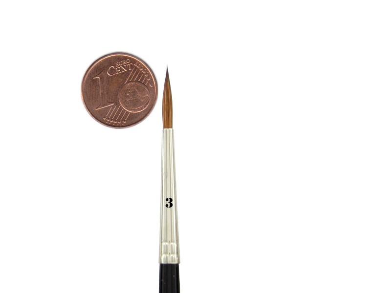 Kolinsky Rotmarderhaar Pinsel Größe: 3 | Ø 2,7 mm | sichtbare Haarlänge 14 mm