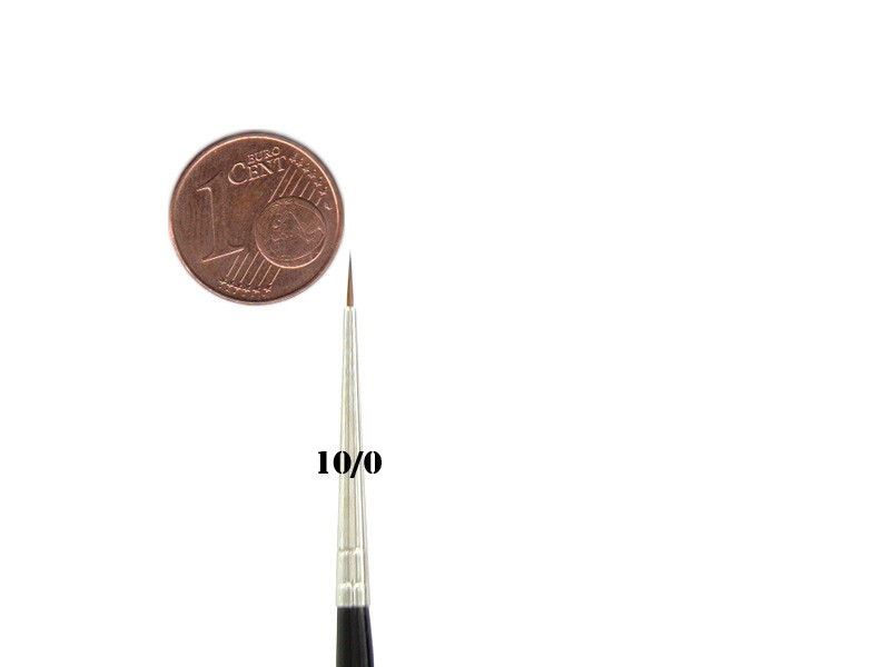 Kolinsky Rotmarderhaar Pinsel Größe: 10/0 | Ø 0,9 mm | sichtbare Haarlänge 5 mm