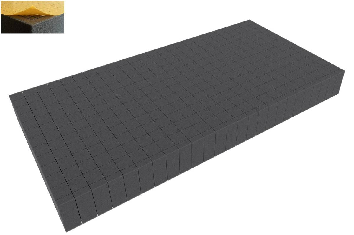 500 mm x 250 mm x 50 mm - Raster 20 mm - Pick and Pluck / Pre-Cubed foam tray self-adhesive
