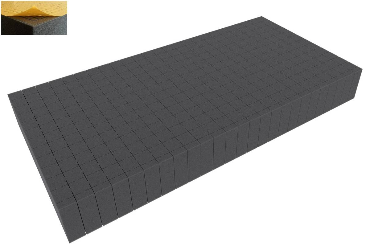 500 mm x 250 mm x 60 mm - Raster 20 mm - Pick and Pluck / Pre-Cubed foam tray self-adhesive