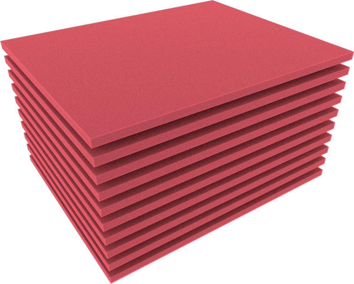FS010Bred10 10pcs. 345 mm x 275 mm x 10 mm colored foam for Shadowboard red
