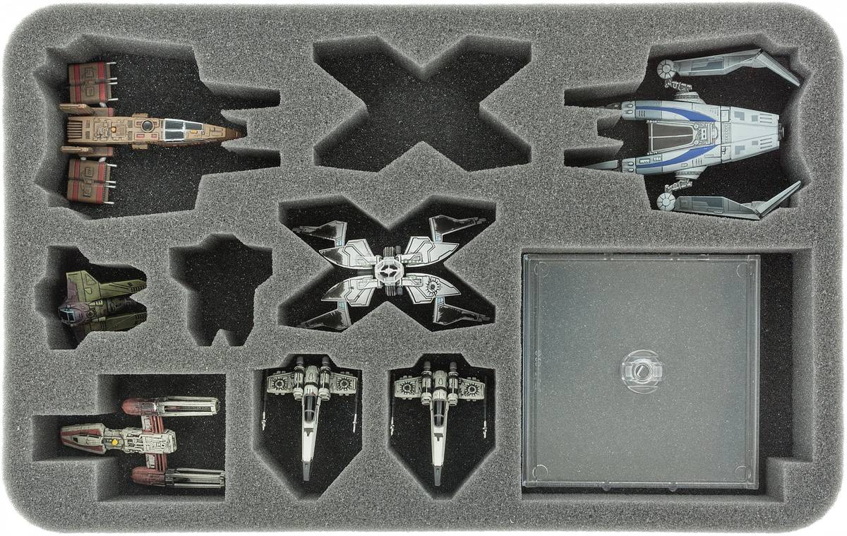 HSBV040BO foam tray for X-Wing StarViper, M3-A Interceptor, IG-2000, Z-95, Kihraxz fighter and Y-Wing