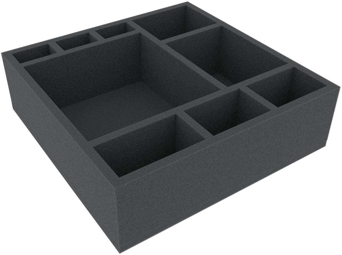 AFDA085BO 285 mm x 285 mm x 85 mm (3.35 inches) foam tray for board game boxes