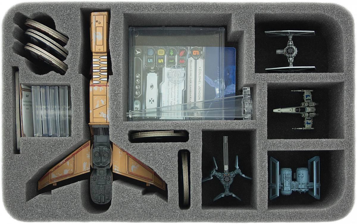 HSDD060BO Schaumstoffeinlage für Star Wars X-WING 1 x Reisszahn (Hounds Tooth) plus 4 Schiffe