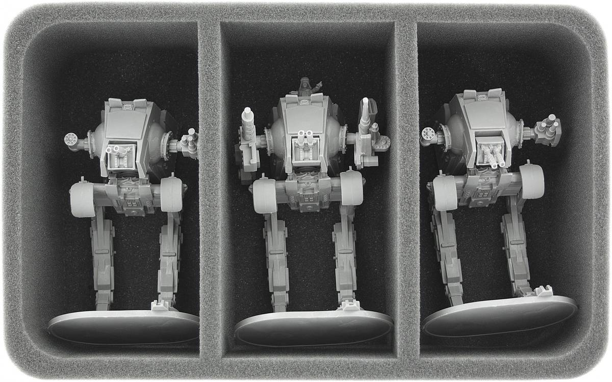 HS085IA09 85 mm (3.35 inches) half-size foam tray with 3 large compartments for Star Wars Imperial Assault Miniatures