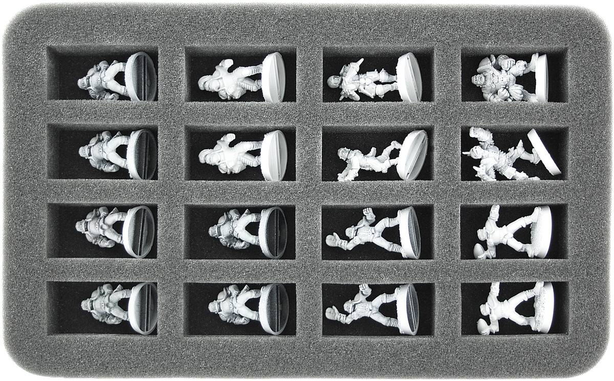 HS035BB01 35 mm half-size foam tray for 16 Blood Bowl miniatures