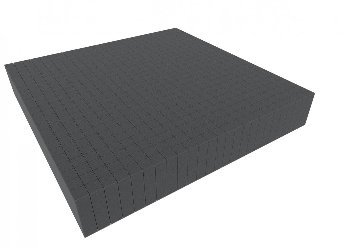 1000 mm x 1000 mm x 80 mm - Raster 20 mm - Pick and Pluck / Pre-Cubed foam tray