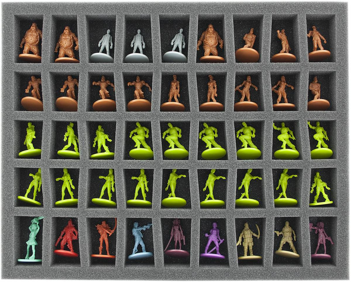 FS035ZC12 35 mm (1.4 inches) foam tray with 45 conical slots for Zombicide miniatures