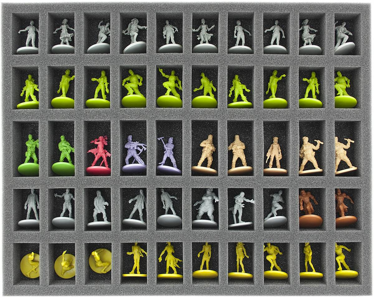 FS035ZC16 35 mm (1.38 Inch) full-size foam tray with 50 slots for Zombicide accessories and miniatures
