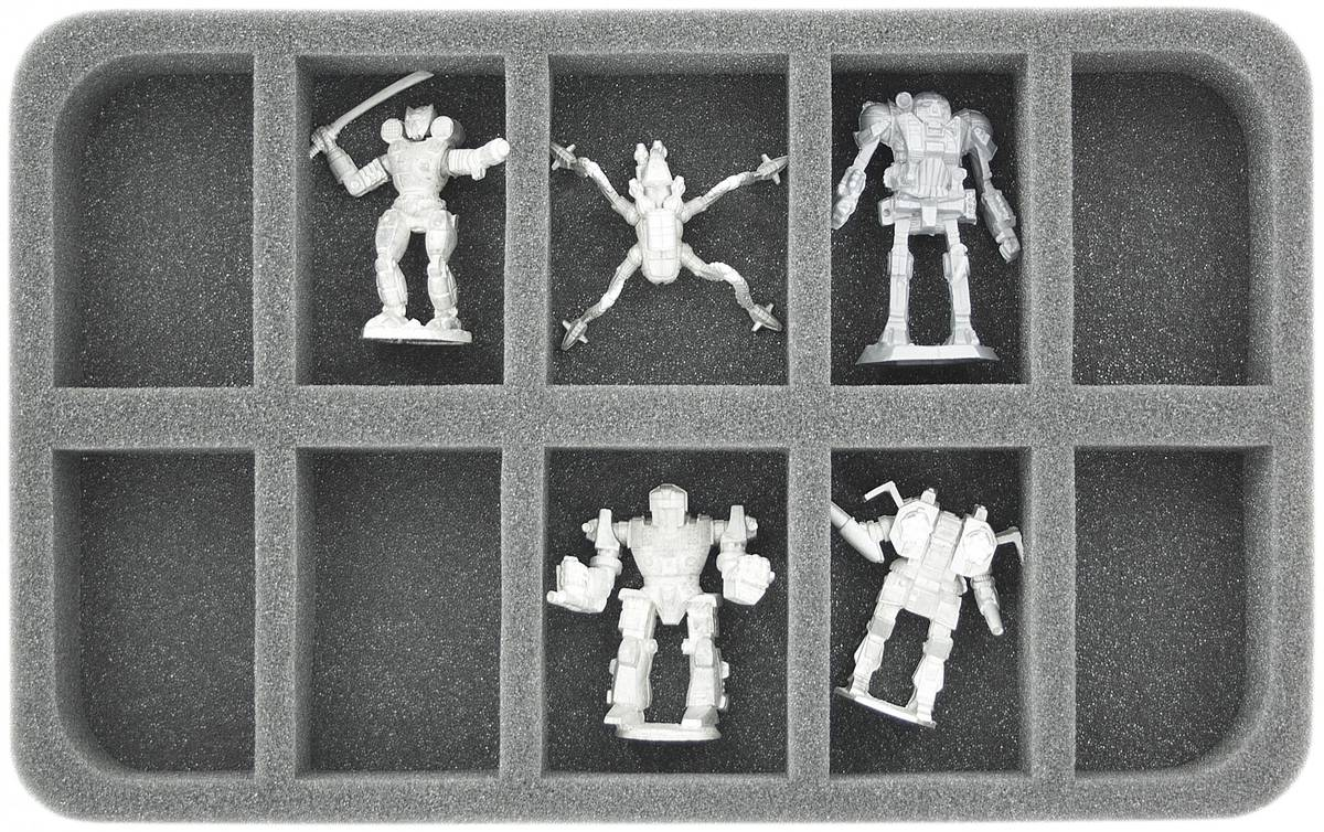 HS035BT03 35 mm (1.38 inches) half-size foam tray with 10 slots for BattleTech Mechs