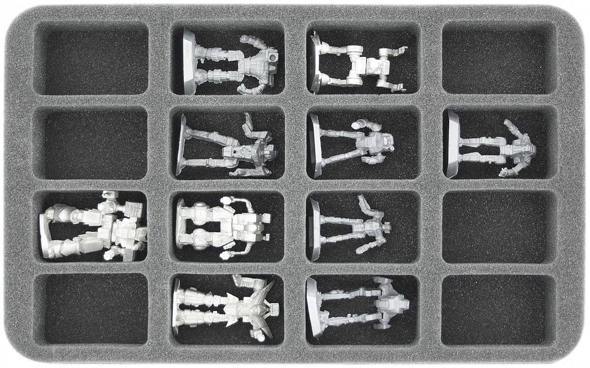 HS035BT06 35 mm (1.38 Inch) half-size foam tray with 16 slots for BattleTech Mechs