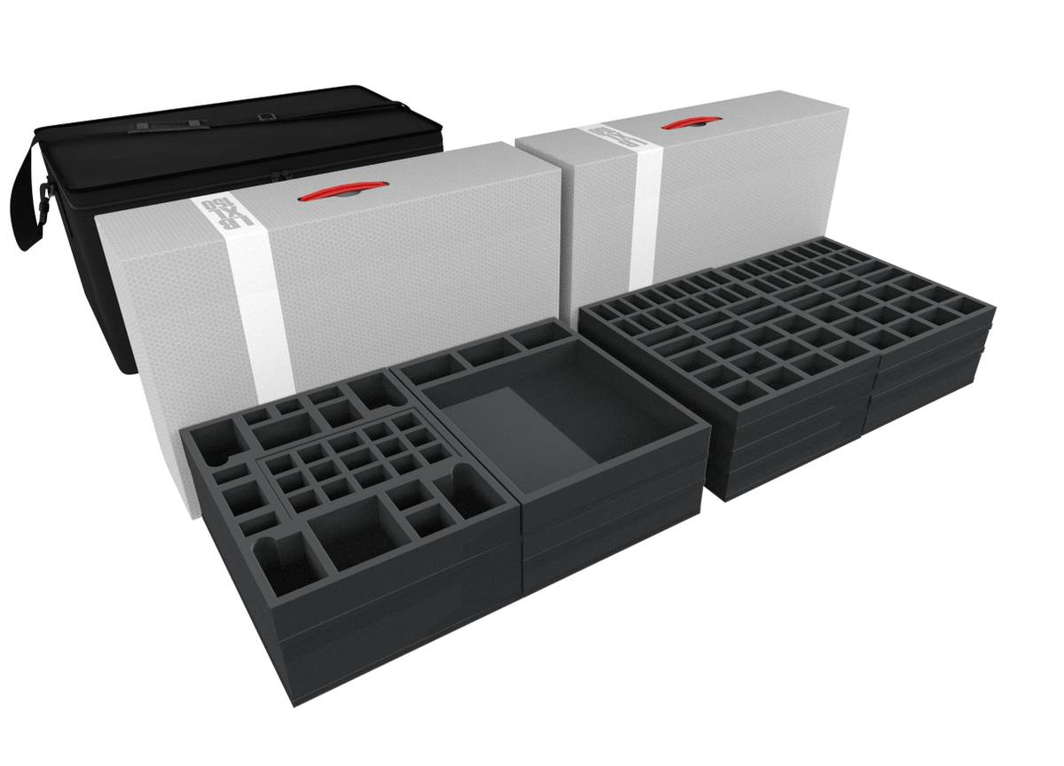 Transporter with 2 XL storage boxes for Zombicide Black Plague Kickstarter Knight Pledge