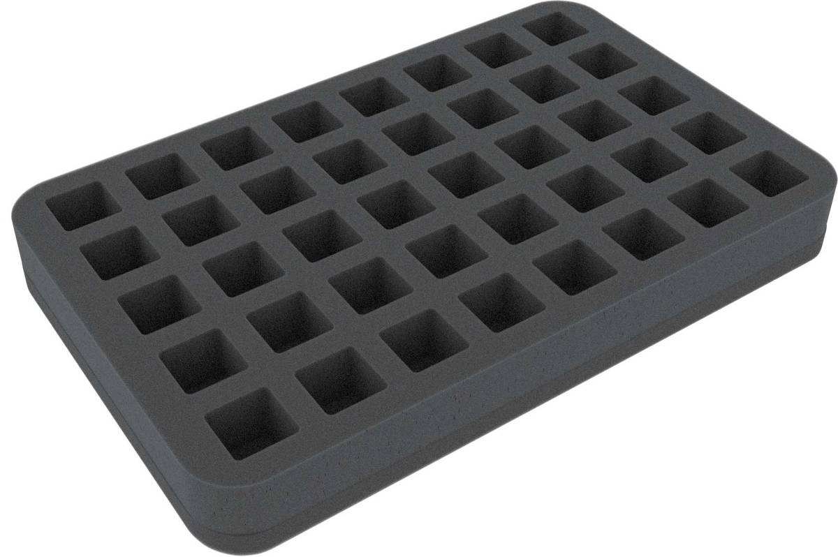 HSHM030BO 30 mm (1.18 inches) half-size foam tray 40 square cut-outs