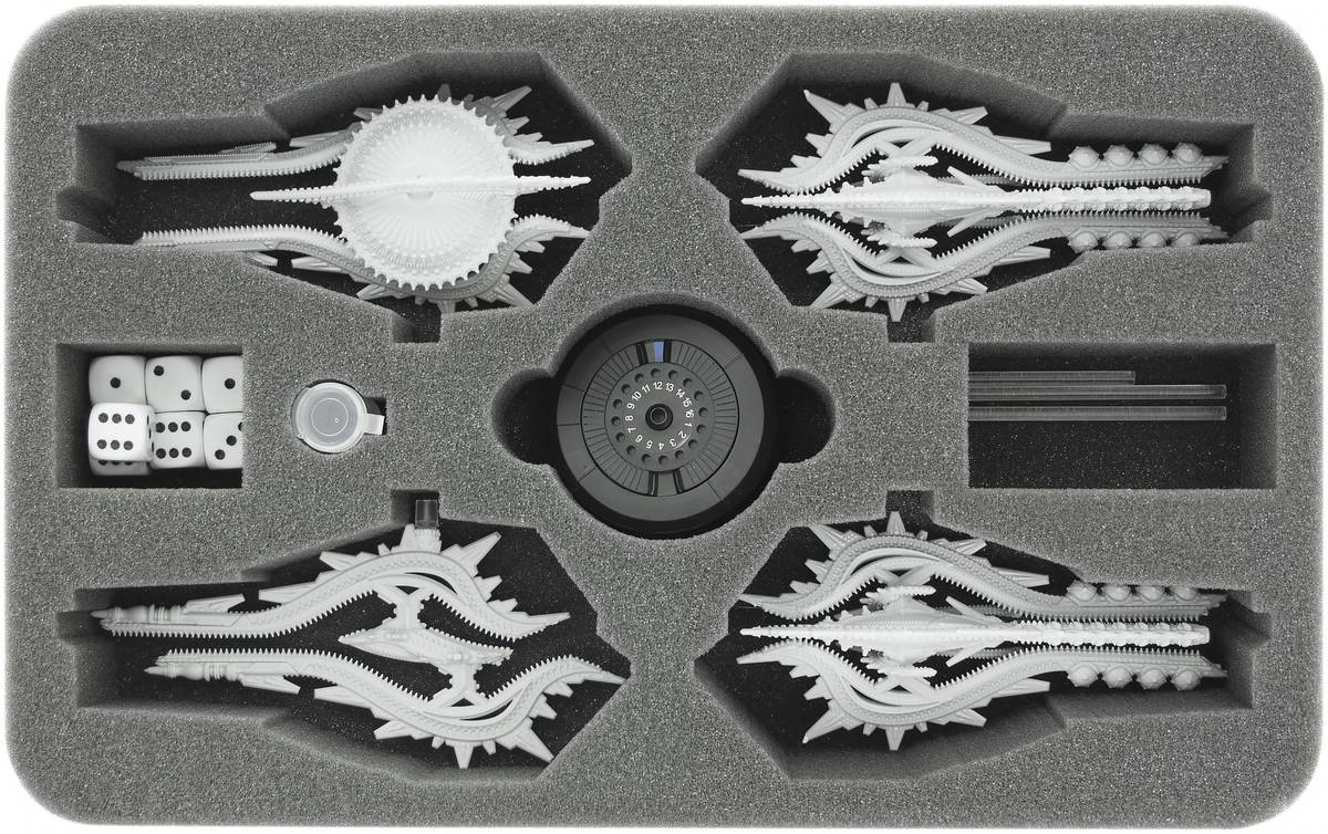 HS045DF04 45 mm (1.8 inches) half-size foam tray for Dropfleet Commander - Shaltari Cruisers + FREE capsule for pegs